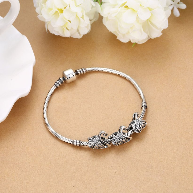 Wholesale Antique 925 Sterling Silver DIY Bracelet CZ Accessories TGSLBD024 4