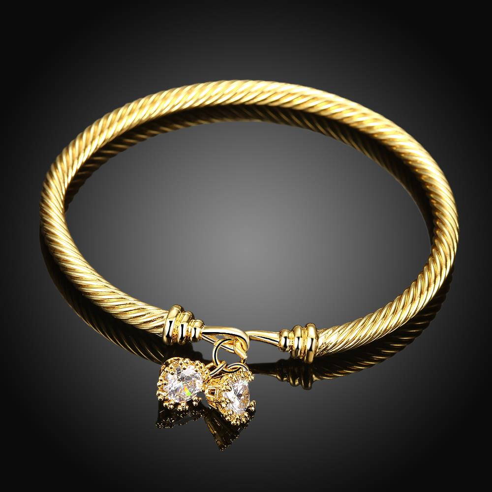 Wholesale Romantic 24K Gold Round CZ Bangle&Cuff TGGPBL035 0