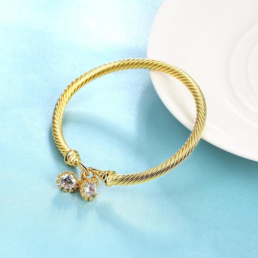 Wholesale Romantic 24K Gold Round CZ Bangle&Cuff TGGPBL035 1