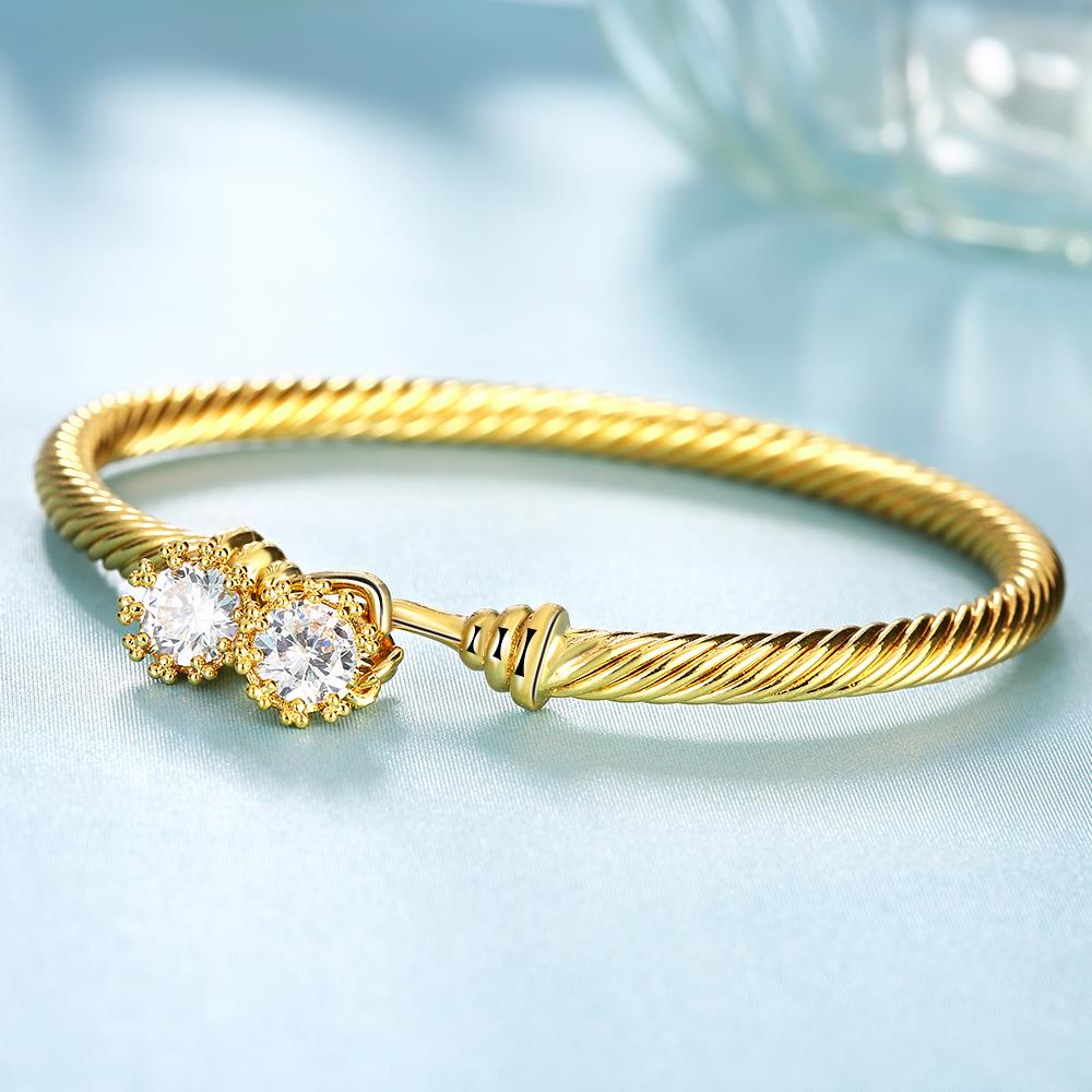 Wholesale Romantic 24K Gold Round CZ Bangle&Cuff TGGPBL035 2