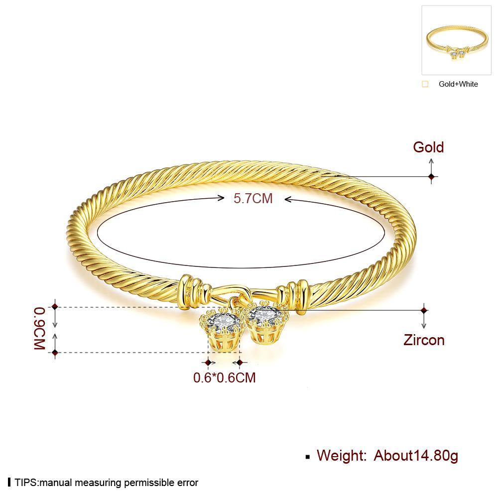 Wholesale Romantic 24K Gold Round CZ Bangle&Cuff TGGPBL035 4
