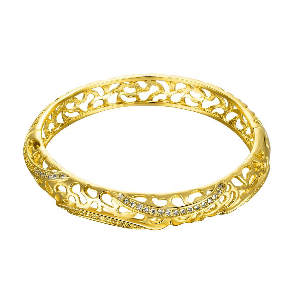 Wholesale Romantic 24K Gold Round CZ Bangle&Cuff TGGPBL042 0