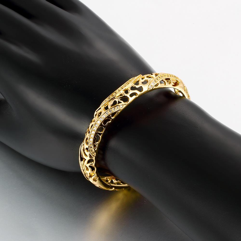 Wholesale Romantic 24K Gold Round CZ Bangle&Cuff TGGPBL042 1