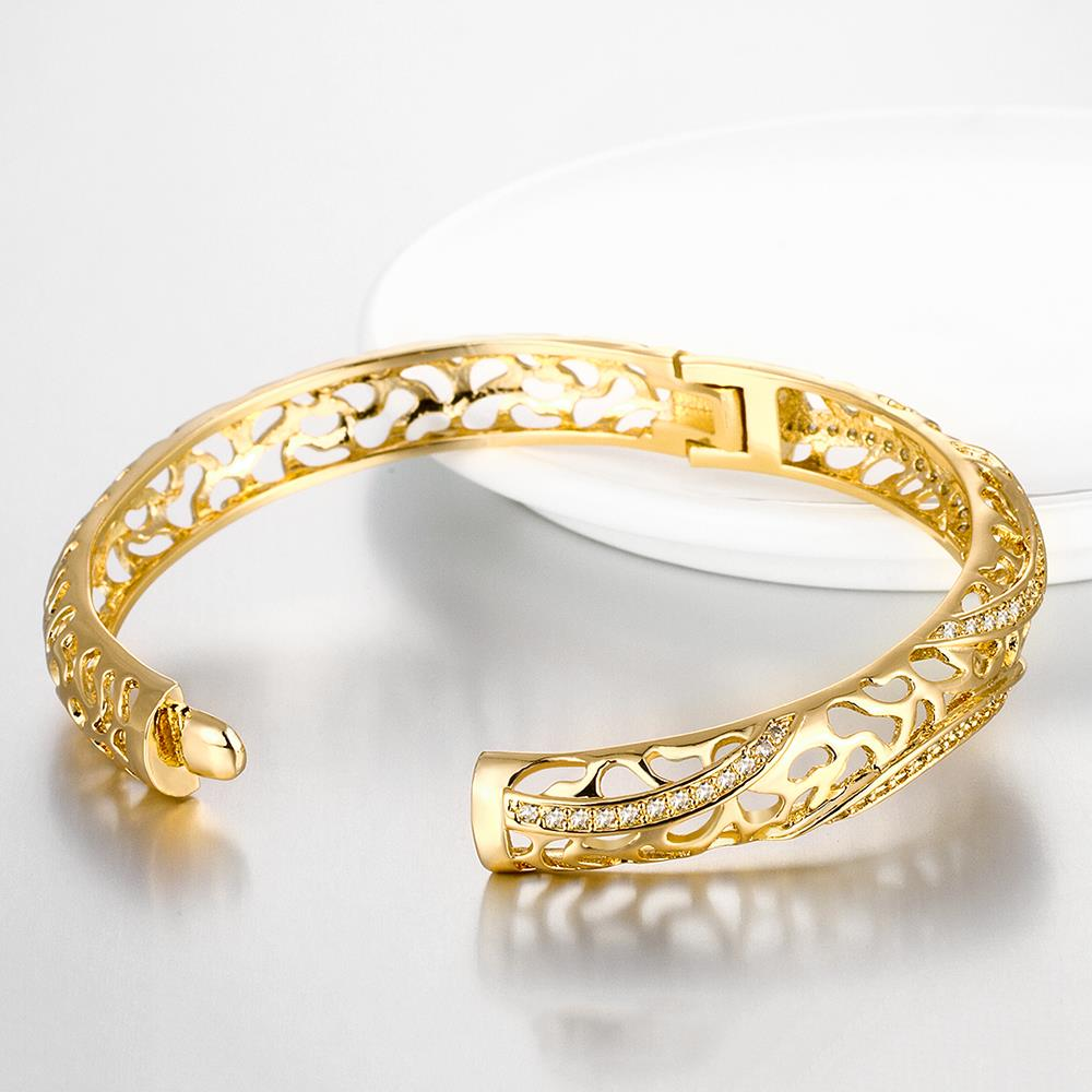 Wholesale Romantic 24K Gold Round CZ Bangle&Cuff TGGPBL042 2