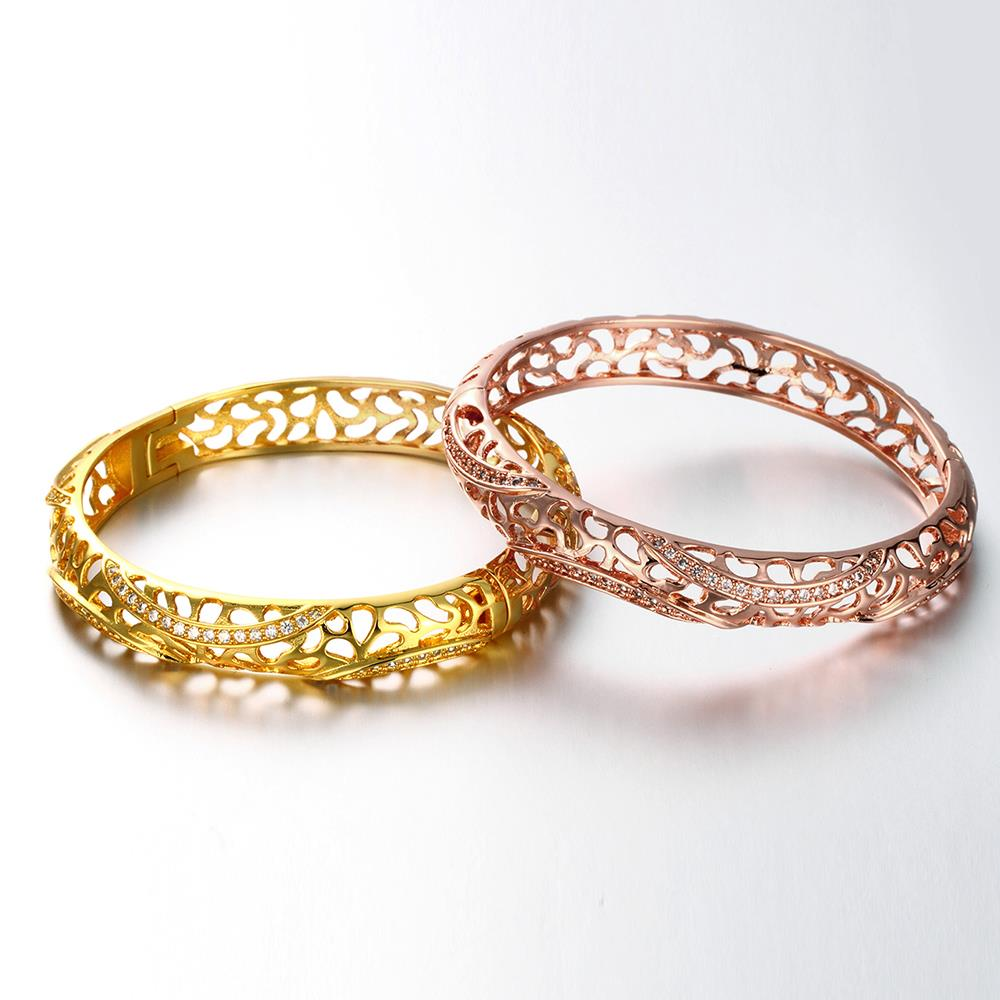 Wholesale Romantic 24K Gold Round CZ Bangle&Cuff TGGPBL042 3