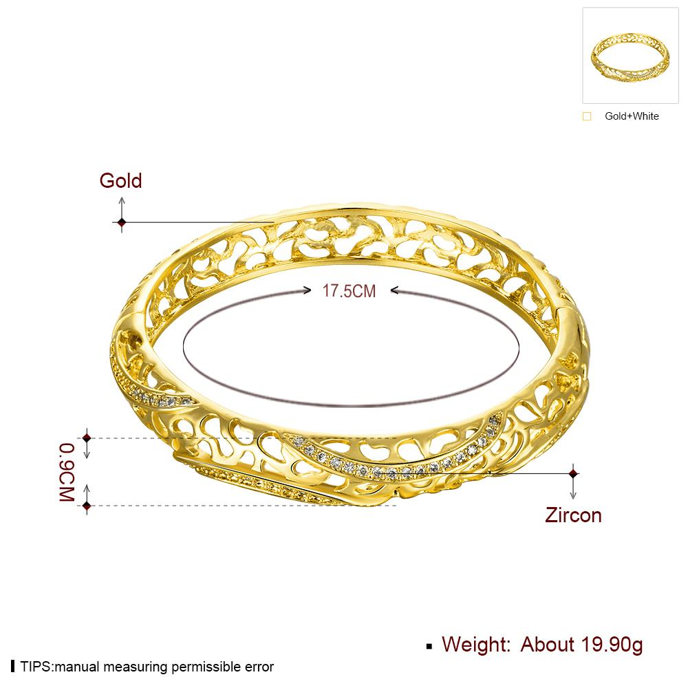 Wholesale Romantic 24K Gold Round CZ Bangle&Cuff TGGPBL042 4