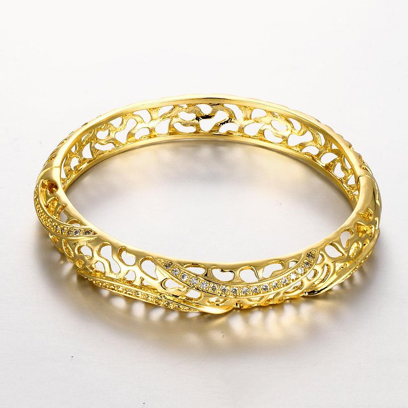 Wholesale Romantic 24K Gold Round CZ Bangle&Cuff TGGPBL042 5