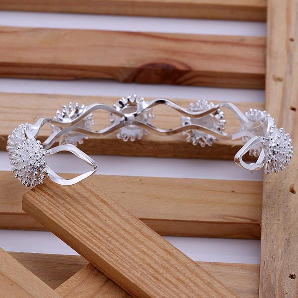 Wholesale Trendy Silver Plant Bangle&Cuff TGSPBL094 0