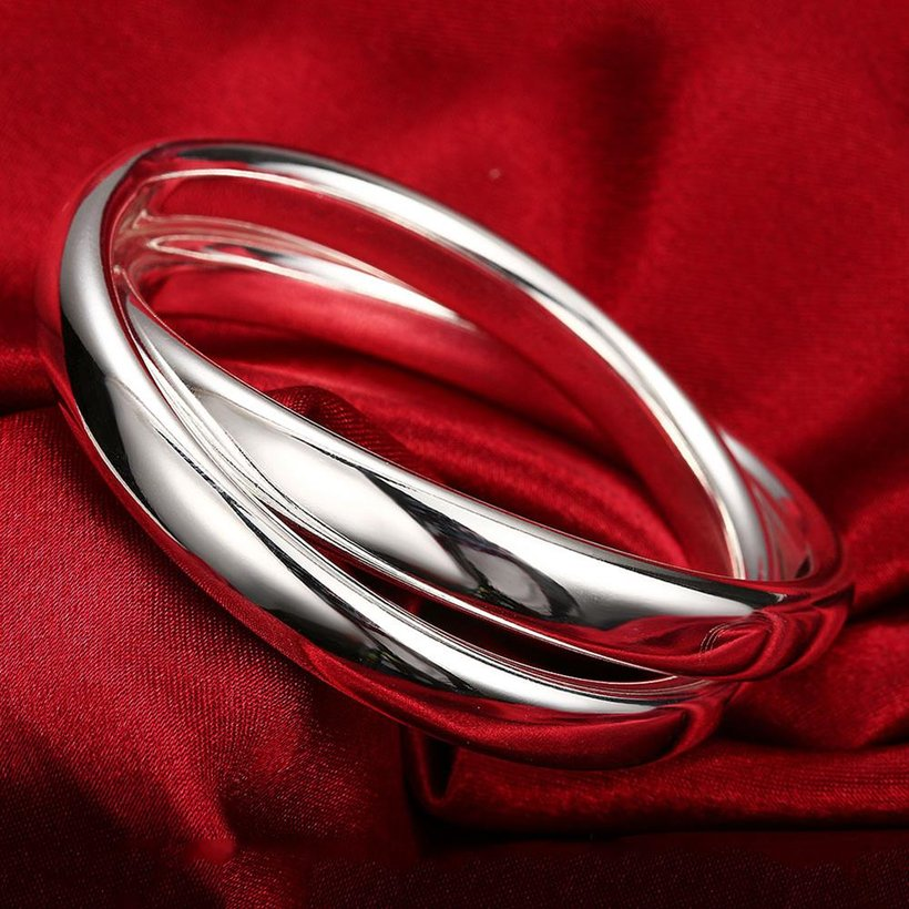 Wholesale Trendy Silver Round Bangle&Cuff TGSPBL098 2