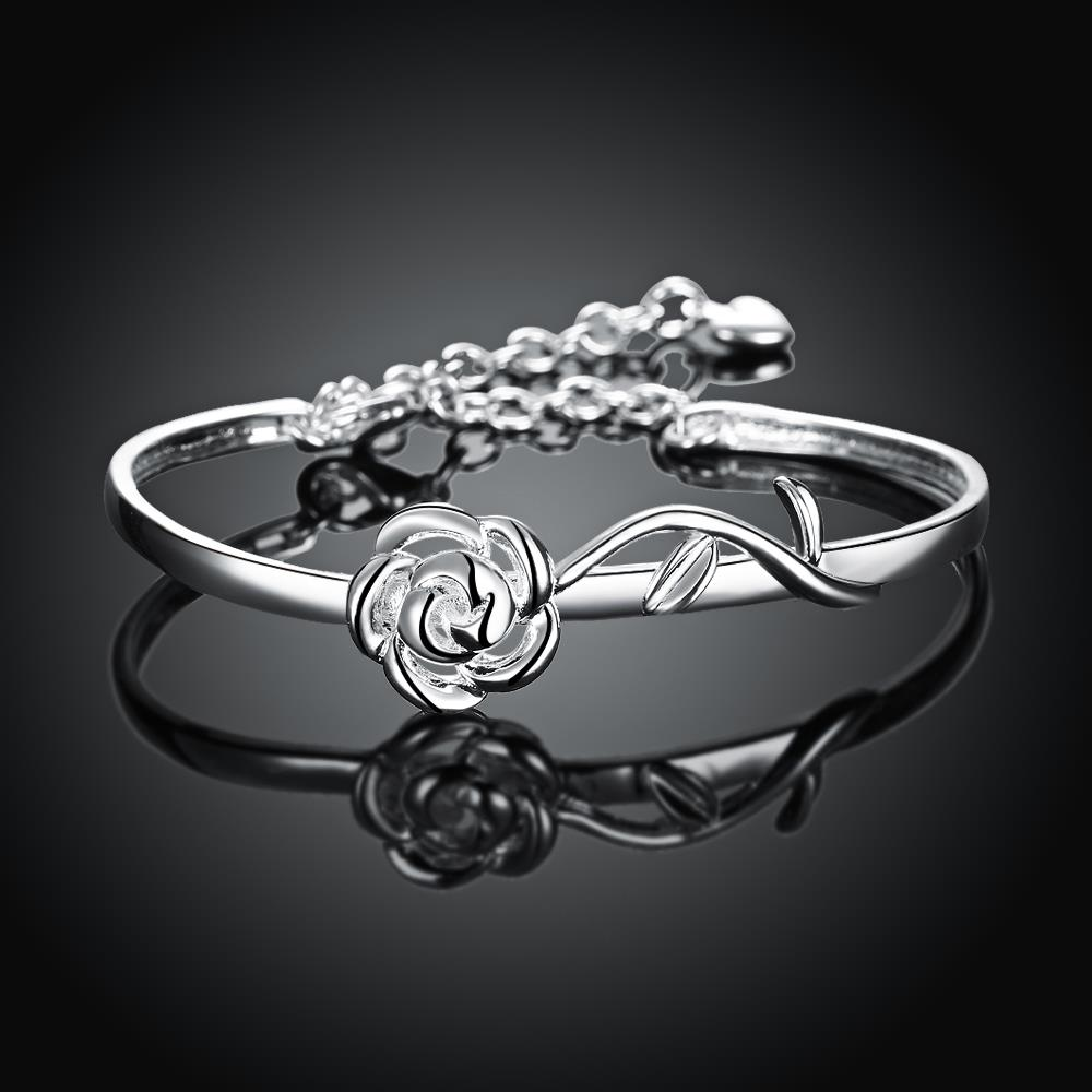 Wholesale Trendy Silver Plant Bangle&Cuff TGSPBL165 1