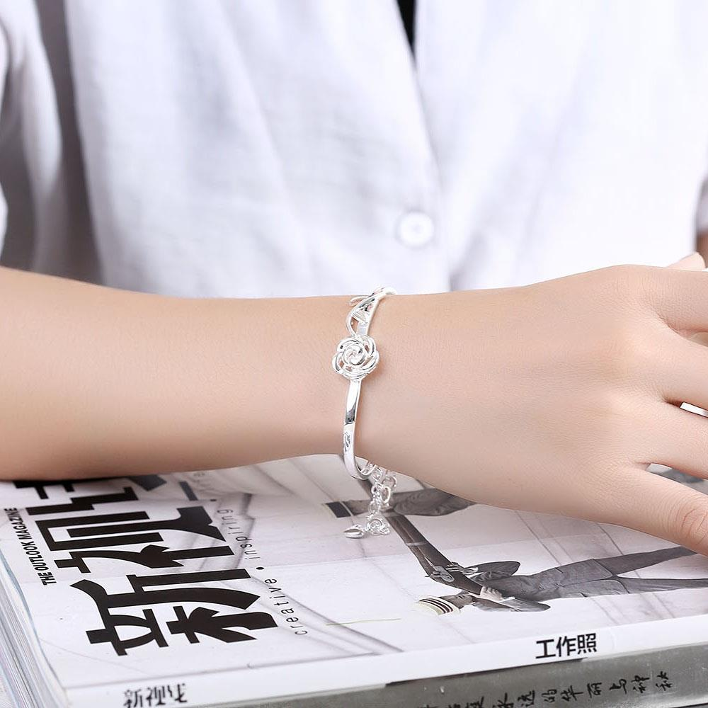 Wholesale Trendy Silver Plant Bangle&Cuff TGSPBL165 3