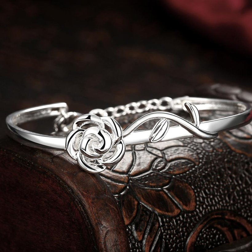 Wholesale Trendy Silver Plant Bangle&Cuff TGSPBL165 4