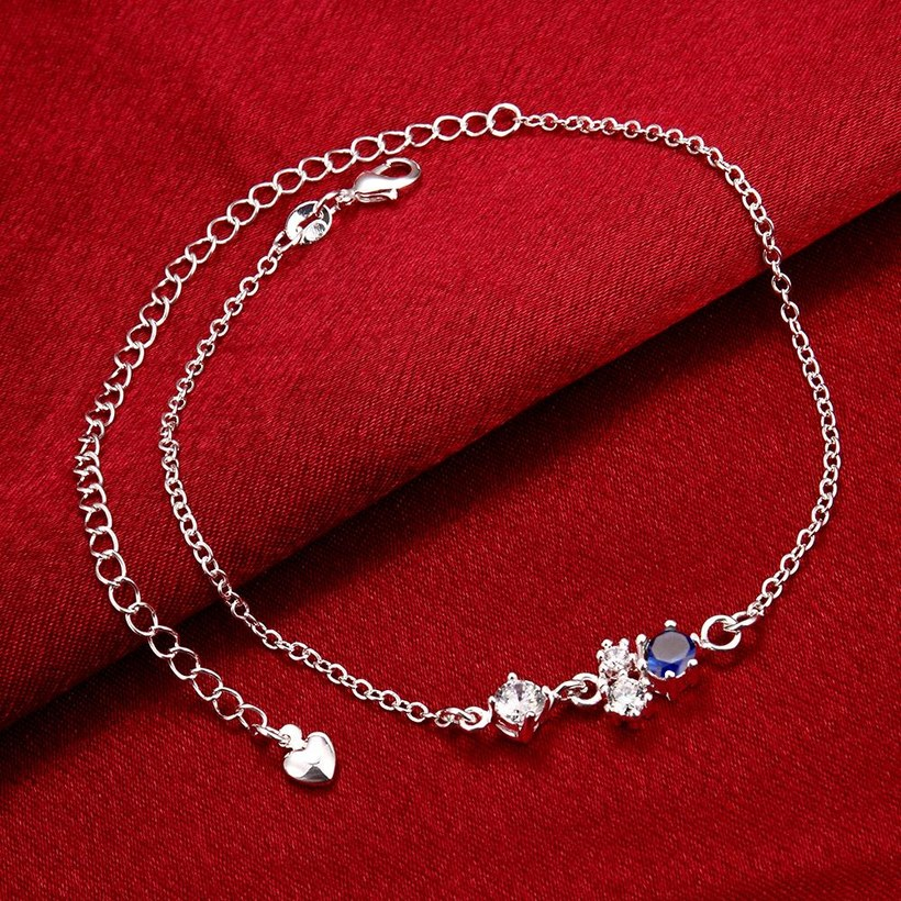 Wholesale Romantic Silver Water Drop Stone Anklets TGAKL063 2