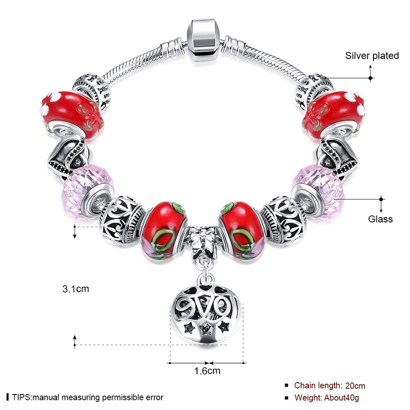Wholesale Silver Love Beads Europe Style Bracelet TGBB006 0