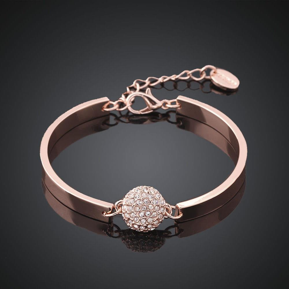 Wholesale Trendy Rose Gold Round Rhinestone Bracelet TGGPB073 0