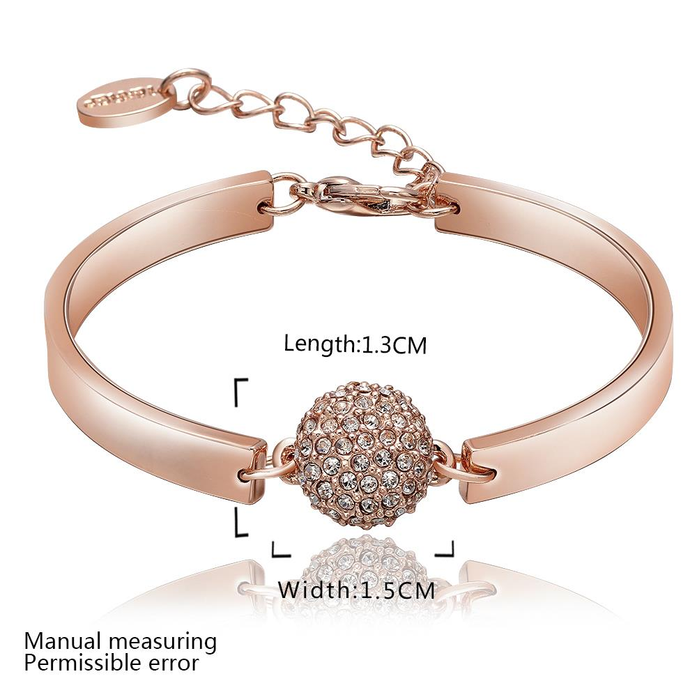Wholesale Trendy Rose Gold Round Rhinestone Bracelet TGGPB073 1
