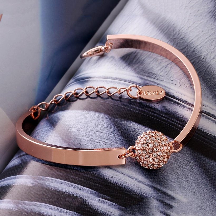 Wholesale Trendy Rose Gold Round Rhinestone Bracelet TGGPB073 2
