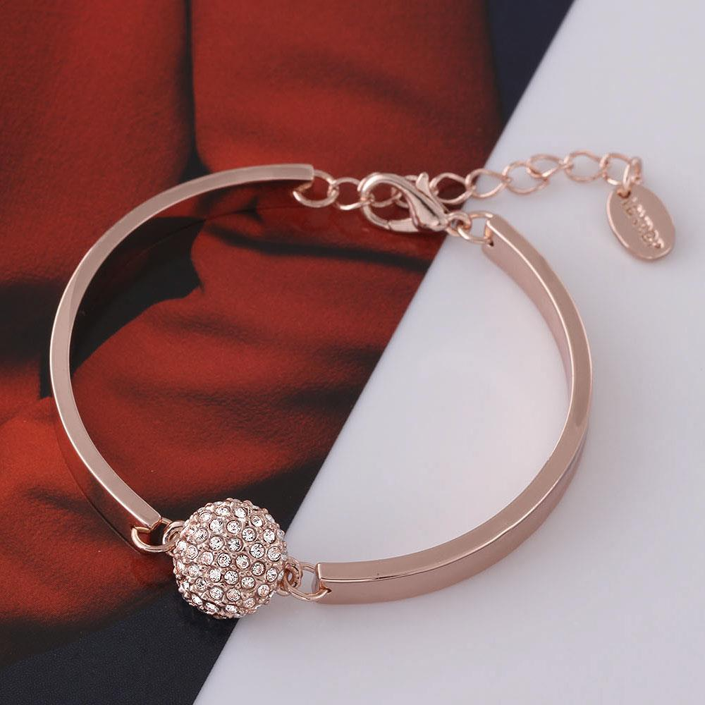 Wholesale Trendy Rose Gold Round Rhinestone Bracelet TGGPB073 3