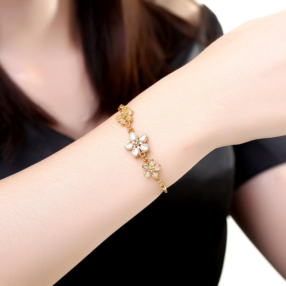 Wholesale Romantic 24K Gold Plant CZ Bracelet TGGPB136 0