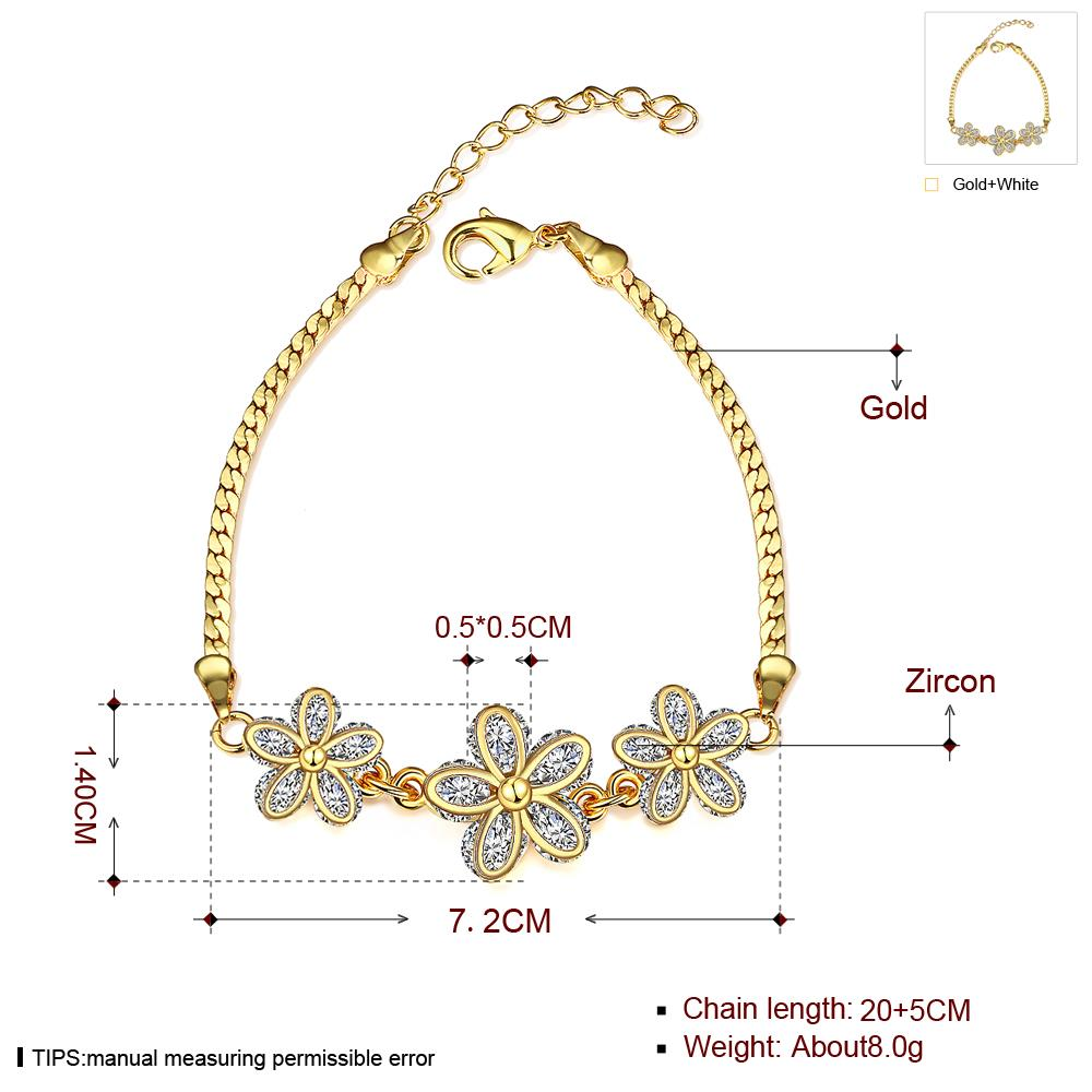Wholesale Romantic 24K Gold Plant CZ Bracelet TGGPB136 2