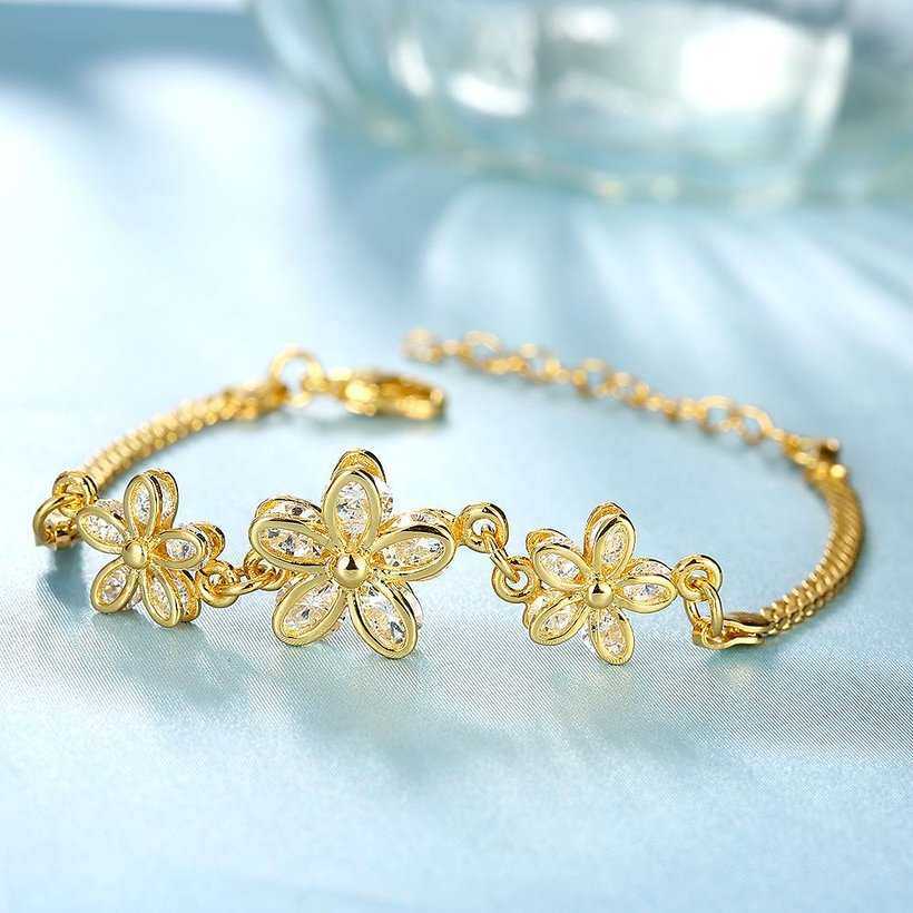 Wholesale Romantic 24K Gold Plant CZ Bracelet TGGPB136 5
