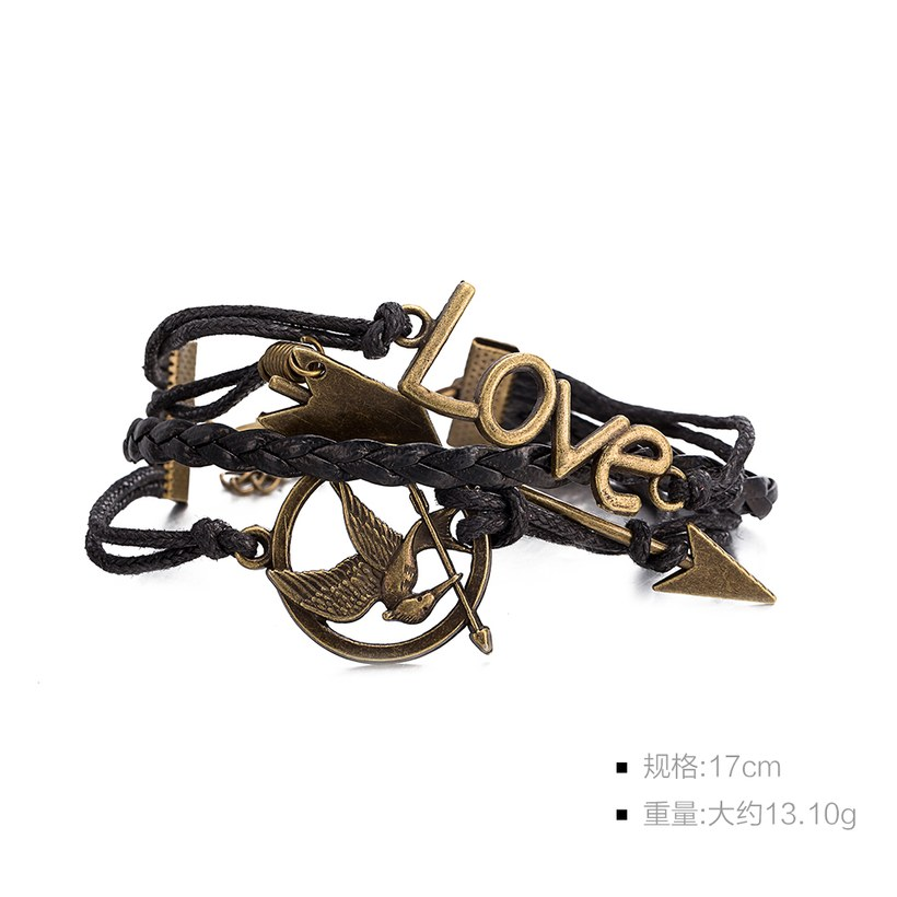 Wholesale Trendy Antique Bronze Round Charm Leather Rope Bracelet TGLEB114 1