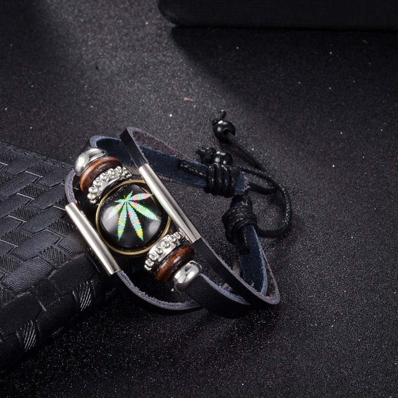 Wholesale Trendy Antique Silver Geometric Bracelet TGLEB175 2
