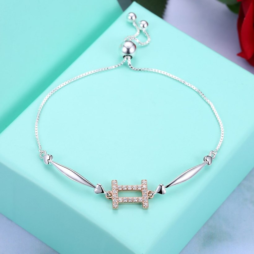 Wholesale Gemini Constellations Real 925 Sterling Silver CZ Bracelet TGSLB049 2