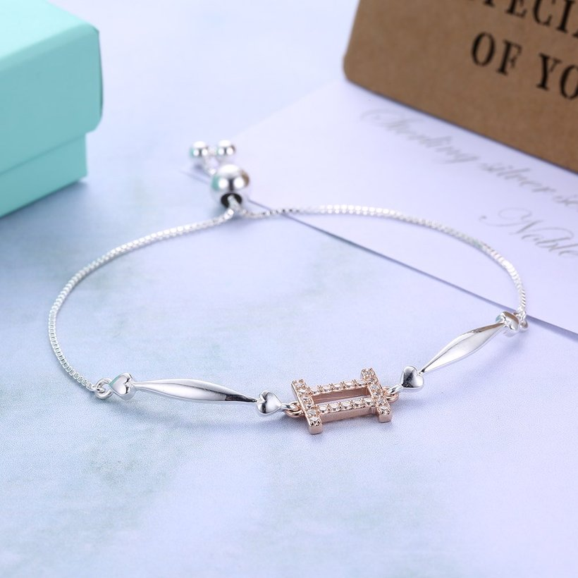 Wholesale Gemini Constellations Real 925 Sterling Silver CZ Bracelet TGSLB049 3