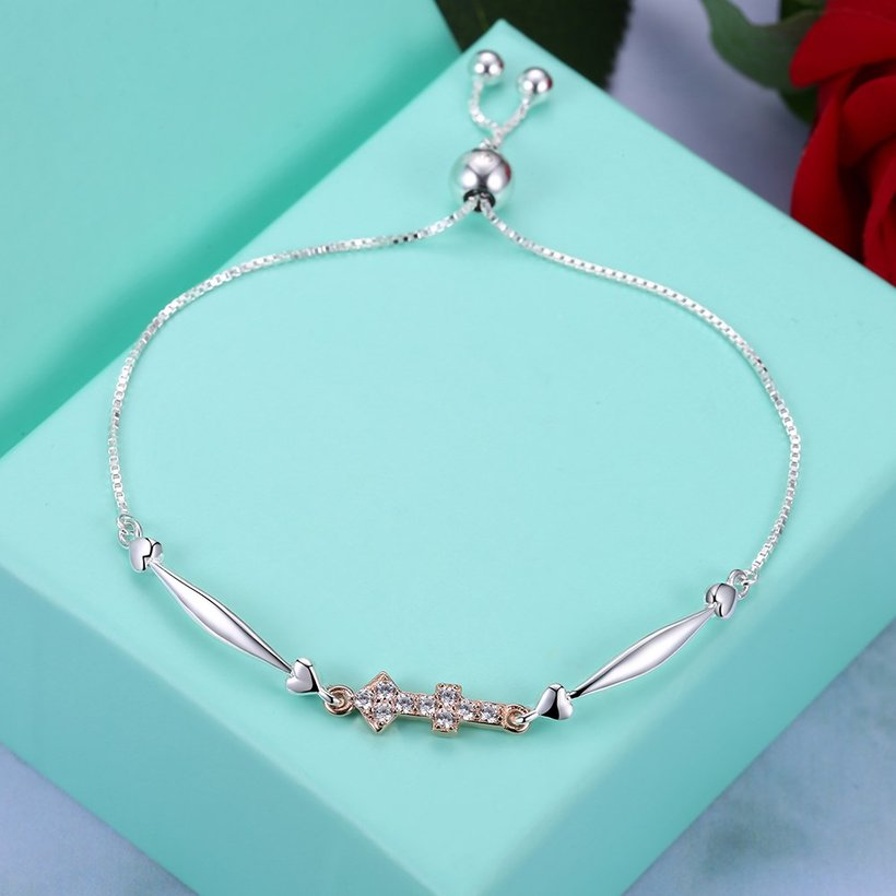 Wholesale Sagittarius Constellation Real 925 Sterling Silver CZ Bracelet TGSLB053 2