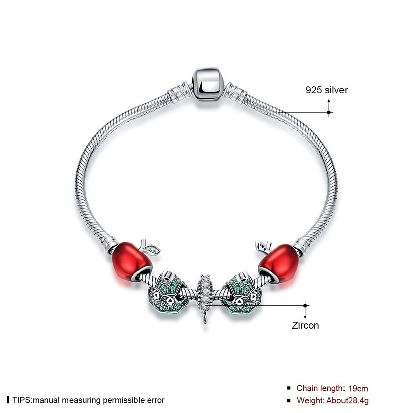 Wholesale Vintage Antique Silver Red CZ Bracelet TGSLB006 0