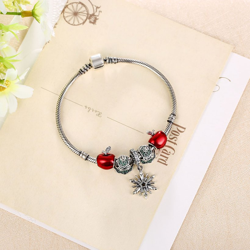 Wholesale Vintage Antique Silver Red CZ Bracelet TGSLB006 2
