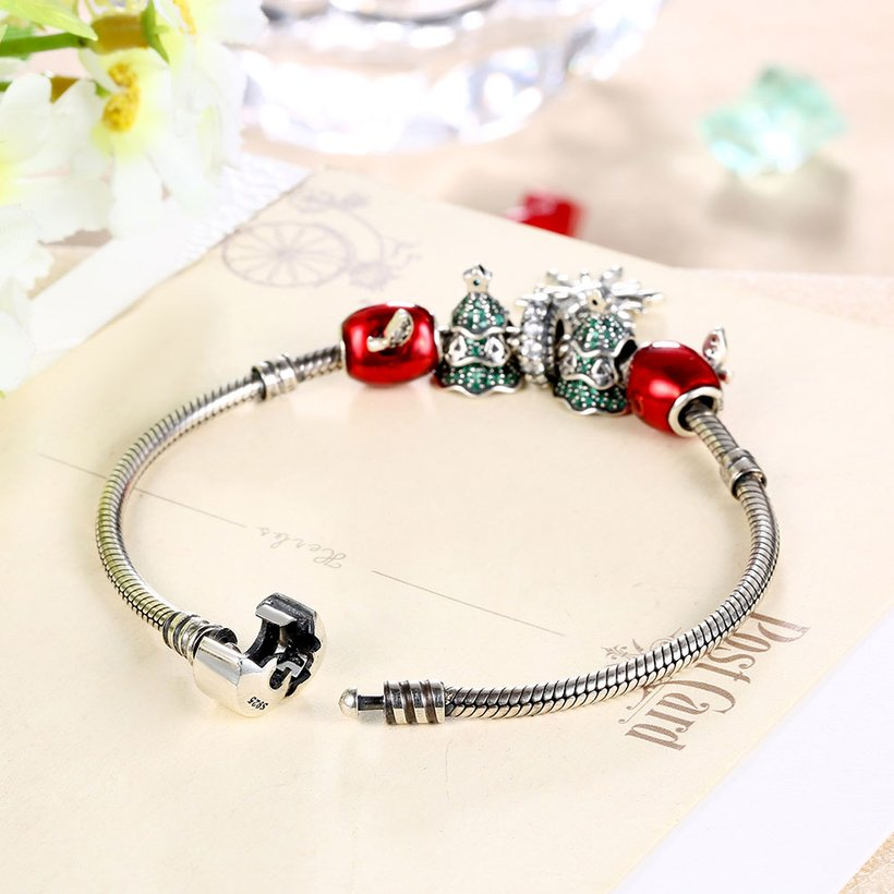 Wholesale Vintage Antique Silver Red CZ Bracelet TGSLB006 3