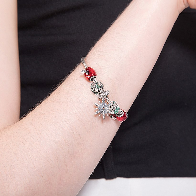 Wholesale Vintage Antique Silver Red CZ Bracelet TGSLB006 4