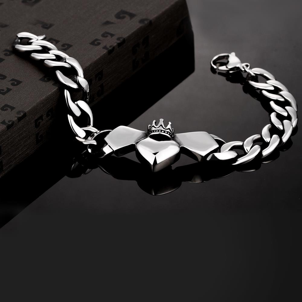 Wholesale Classic 316L stainless steel Heart Bracelet TGSMB024 2