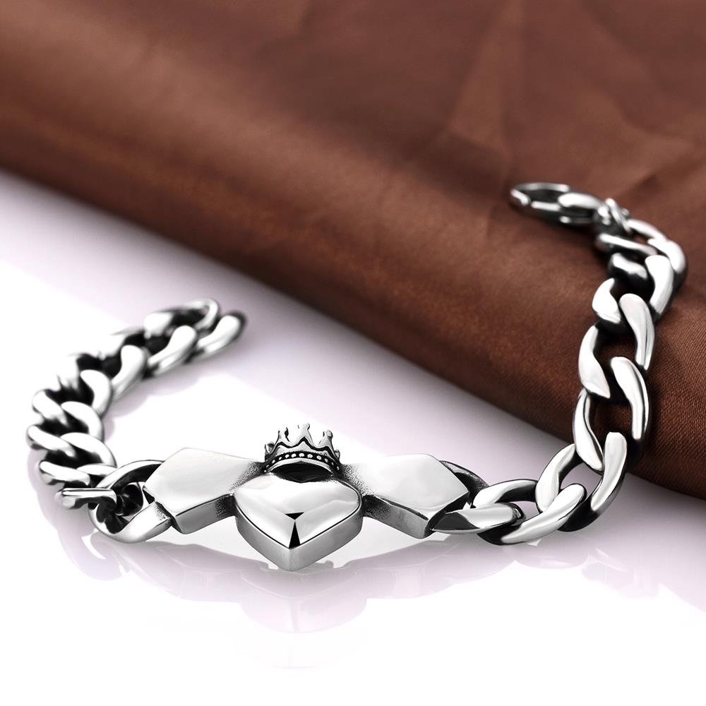 Wholesale Classic 316L stainless steel Heart Bracelet TGSMB024 3