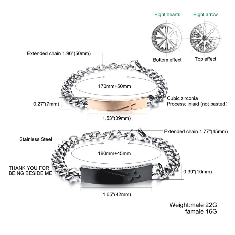 Wholesale 2018 New Fashion Stainless Steel Couples BraceletLovers TGSMB004 1