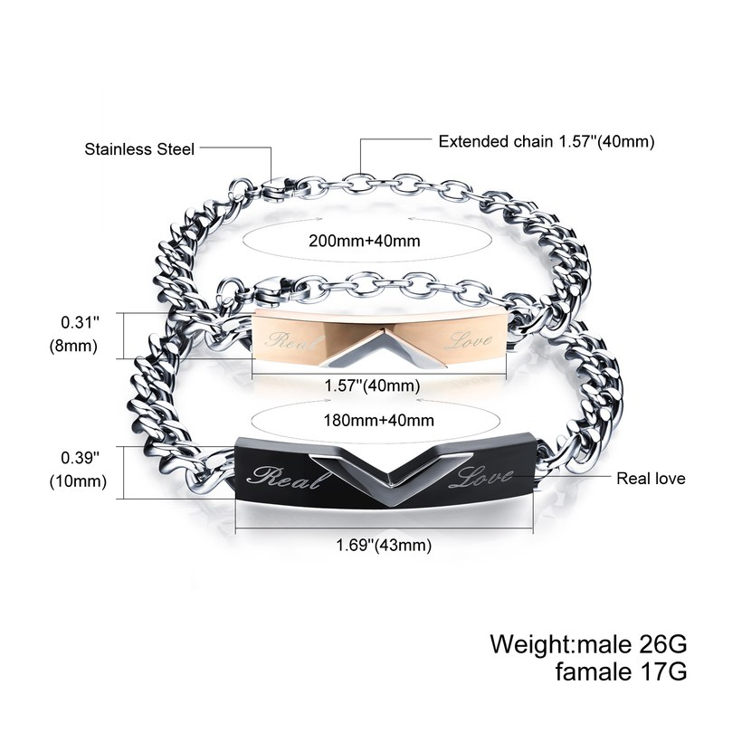 Wholesale 2018 New Fashion Stainless Steel Couples BraceletLovers TGSMB007 1