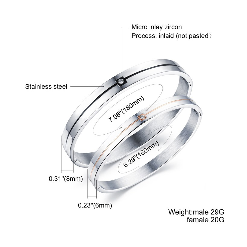 Wholesale 2018 New Fashion Stainless Steel Couples BraceletLovers TGSMB009 1