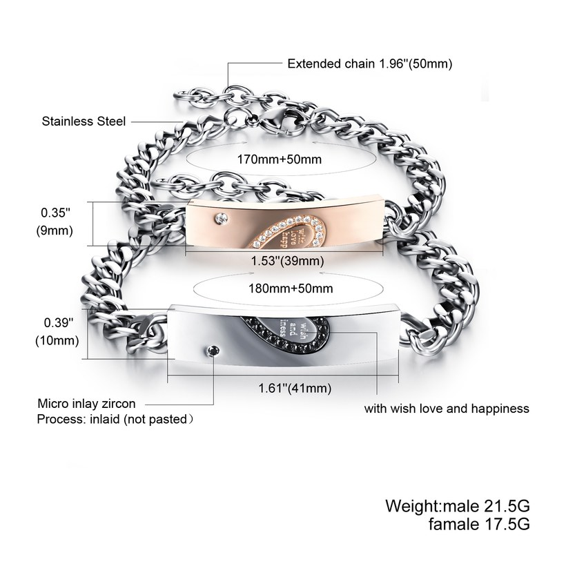 Wholesale 2018 New Fashion Stainless Steel Couples BraceletLovers TGSMB011 0