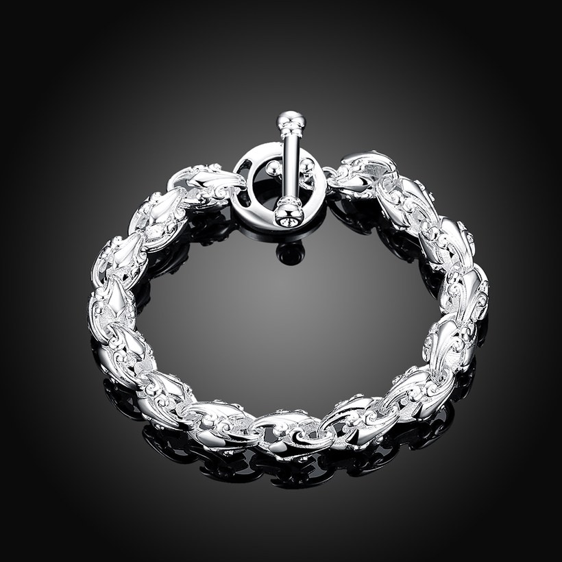 Wholesale Trendy Silver Hollow out flowers Bracelet TGSPB175 1