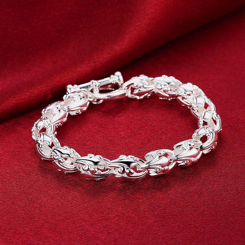 Wholesale Trendy Silver Hollow out flowers Bracelet TGSPB175 2