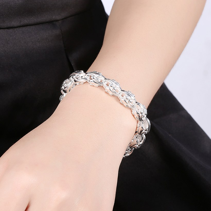 Wholesale Trendy Silver Hollow out flowers Bracelet TGSPB175 3