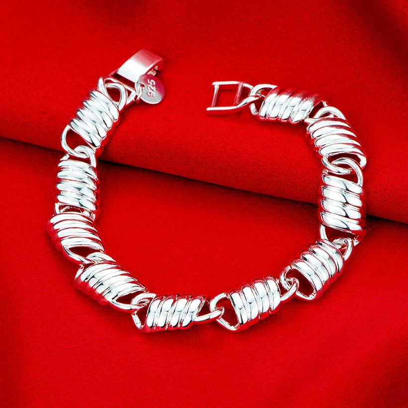 Wholesale Classic Silver Spring chains Lock Bracelet TGSPB218 2