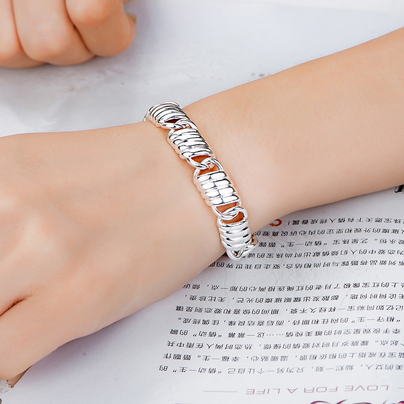 Wholesale Classic Silver Spring chains Lock Bracelet TGSPB218 3