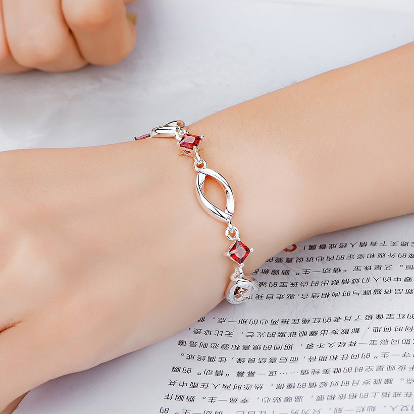 Wholesale Classic Silver Geometric Mouth Red CZ Bracelet TGSPB225 3