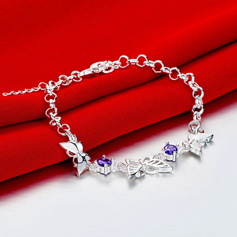Wholesale Classic Silver Insect Butterfly Purple CZ Bracelet TGSPB235 1