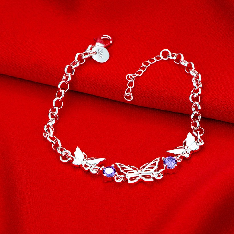 Wholesale Classic Silver Insect Butterfly Purple CZ Bracelet TGSPB235 2