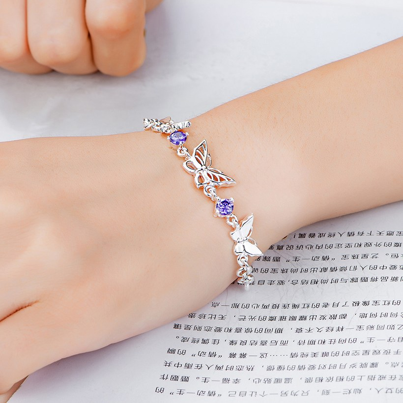 Wholesale Classic Silver Insect Butterfly Purple CZ Bracelet TGSPB235 3
