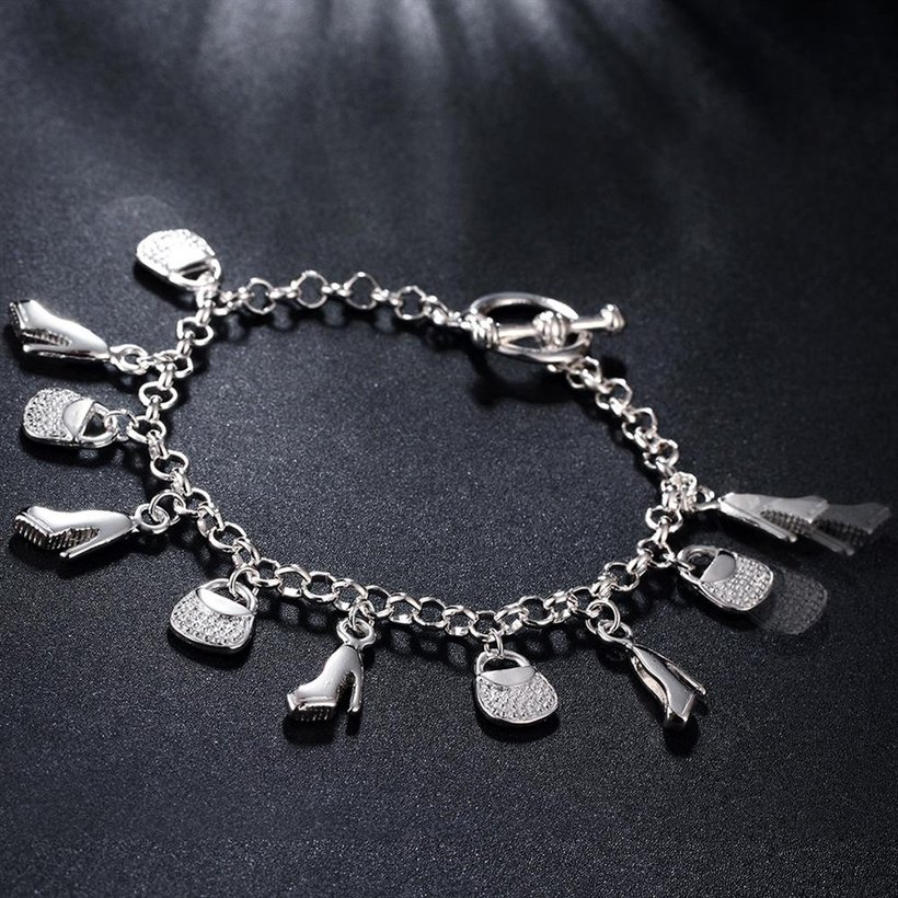 Wholesale Trendy Silver Lock Bracelet TGSPB066 4